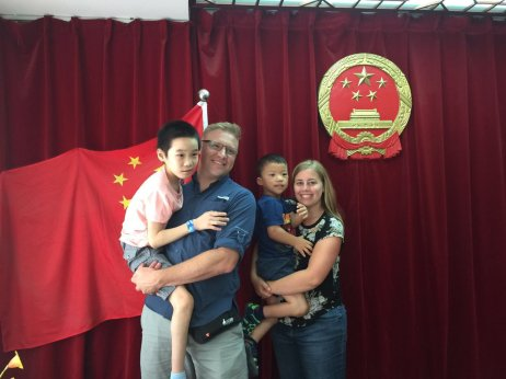 child adopted from China with their forever family