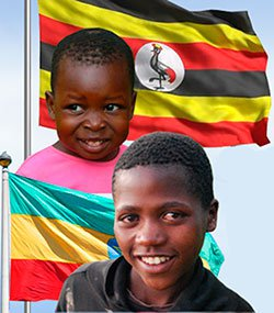 children with their national flags